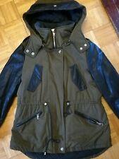 Zara Trafaluc Green Hooded Parka Jacket Black Faux Leather Sleeves ~ Size Small