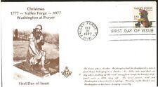 J) 1977 UNITED STATES, CHRISTMAS VALLEY FORGE WASHINGTON AT PRAYER, MASONIC GRAN