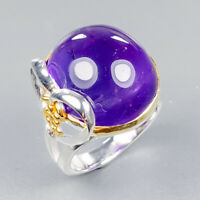 Handmade SET Natural Amethyst 925 Sterling Silver Ring Size 8/R123538