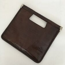 Giorgio ARMANI vintage marrone in pelle coccodrillo BUSTA QUADRATO PIATTO MEDIUM Handbag