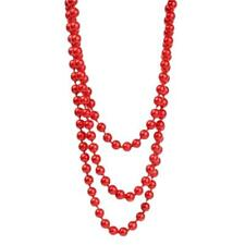 Women Lady Long Red Glass Round Bead Sweater Necklace Beaded necklace