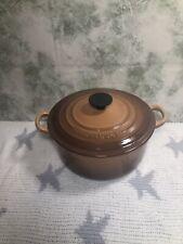 Vintage Genuine Le Crueset 20cm Cast Iron Casserole Dish/Pan/Pot ~Hazelnut Brown