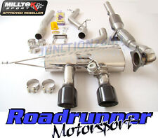 Milltek Golf R MK6 Turbo Back Exhaust Inc Downpipe Sports Cat Non Res Black Tips