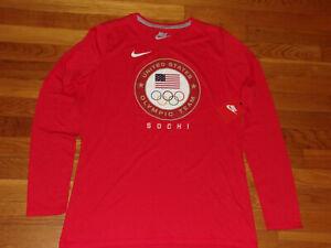 NWT NIKE SLIM-FIT USA OLYMPICS SOCHI LONG SLEEVE RED T-SHIRT WOMENS XL