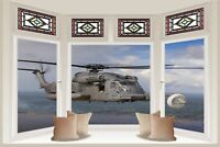 Huge 3D Bay Window Army Helicopter View Wall Stickers Film Mural Wallpaper 130