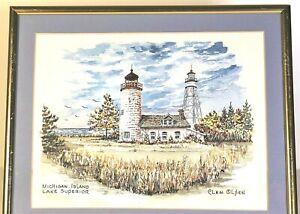 Clem Olsen Original Water Color Framed Painting Michigan Island Light Station