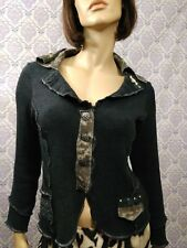 Womens Art To Wear Cardigan Orly Size M Gray Leopard Lace Jeweled Cotton Blend