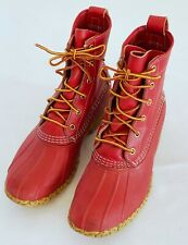 LL Bean Duck Rain Boot Women's 7.5 M Waterproof Shoes Red Leather Lace Up