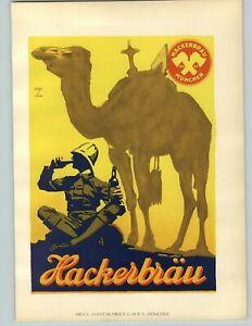 1926 Ludwig Hohlwein Munchen Hackerbrau Beer Bottle Camel Color Poster Print