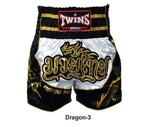 Twins Boxing Shorts TBS Dragon-3 White-Black ( M,L,XL,XXL) Muay Thai MMA K1