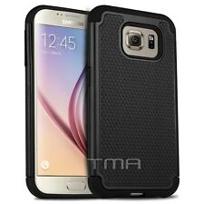 Samsung Galaxy S6 Heavy Duty Rugged Rubber Dual Layer Hybrid Case Cover - Black