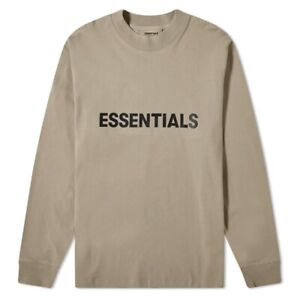 Fear Of God Essentials Holiday Long Sleeve Shirt Umber Taupe Size XL Sold Out