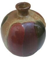 Napcoware Weed Pot Bud Vase C-8946 Mid Century Modern Japanese Clay Gold Red