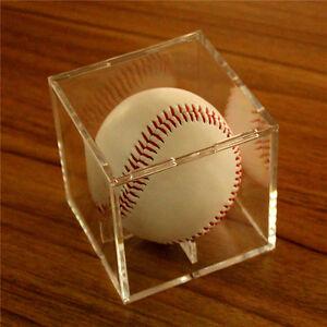 1PCS 8cm Acrylic Baseball Display Case Tennis Cube Box Holder UV Protection Tool