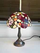RED  DRAGONFLY TIFFANY TABLE LAMP Multi coloured Glass Light Shade Metal Base
