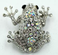 Sparkling Frog Toad Pin Brooch Crystal Rhinestone Animal Jewelry Silver AB ZA12