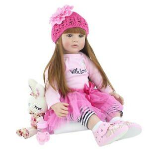 "24"" Silicone Reborn Baby Doll Lifelike  Realistic Vinyl Princess Baby Girl Doll"