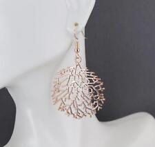"Rose Gold earrings skeleton leaf round circle dangle cut out filigree 2 1/8""long"