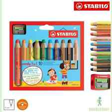 Stabilo WOODY 3-in-1 + SPITZER 10er Multitalent Farbstift Wachsmalstift Aquarell