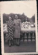 1940s 50s Ladies Photo Deckle Edge Fountain And Vintage Cars Background Photo