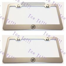 2X Buick Logo Stainless Steel License Plate Frame Rust Free W/ Caps