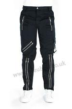 BLEUBOLT Black Punk Rock Goth Bondage Zip Pants Trousers
