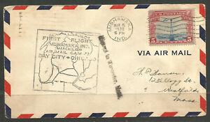 OSBURGH - USA. 1930. MISHAWAKA INDIANA. FIRST FLIGHT AIR MAIL COVER. HARTFORD CO