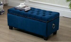 Blue Fabric Storage Ottoman Tufted Blanket Box Chest Foot Stool Studs and Rings