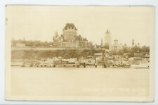 Quebec City from River - Buildings  boats etc vintage RPPC Real Photo Postcard