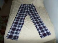 NAUTICA SLEEPWEAR MEN'S BLUE PLAID FLANNEL PAJAMA PANTS SIZE MEDIUM