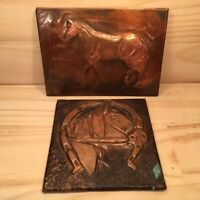 2pc HORSES Embossed Copper Folkart Metal Craft Plaques Decorative Pictures