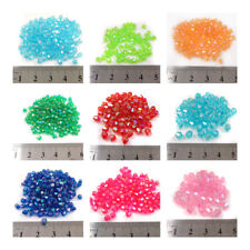 BICONE FACETED AB ACRYLIC BEADS *2 SIZES* *10 COCLOURS* BEADING JEWELLERY MAKING