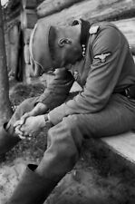 WW2 Photo WWII Tired German Soldier Resting  World War Two Wehrmacht / 2466