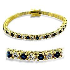 5903 7'' AAA GRADE SIMULATED DIAMOND TENNIS BRACELET SAPPHIRE BLUE GOLD LADIES