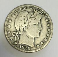 1912-D Denver Mint Silver Barber Half Dollar Fine Condition
