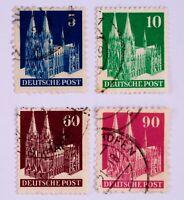 Briefmarke,Bizone Bauten,Deutsche Post,Kölner Dom 5,10,60,90,Pf.Ausgabe 1948