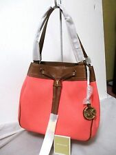 MICHAEL KORS MARINA LARGE DRAWSTRING TOTE~BROWN LEATHER/CORAL~NWT!