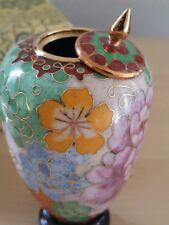 Cloissone Vintage Asian Pot/Jar/Vase/lid & base Gold rims Enamel intr.Intricate