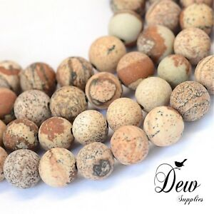 About 47pcs x Frosted Natural Picture Jasper Round Bead , 8~8.5mm, beads stone