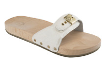 Scholl Pescura Flat Wooden Sandals Sliders Clogs in White Glitter Varous Sizes