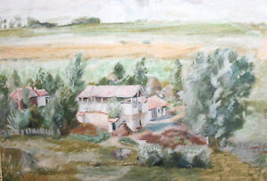 Vintage impressionsit landscape pastel painting