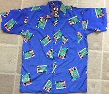 NWT Phat Farm Men's Size Large Blue Orange Green Short Sleeve Button Down Shirt