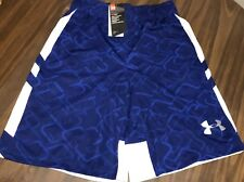 NWT Mens L Under Armour Cross Court Royal Blue/White BASKETBALL Shorts Large