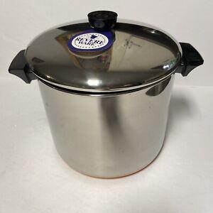 1971 NEW Old stock Revere Ware 1801 8qt Stock Pot Stainless Steel Copper Bottom