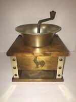 Vtg Gailcraft Product Hand Crank COFFEE MILL GRINDER Rooster Motif Japan- Read