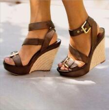 Women Ankle Strap High Wedge Heel Platform Sandals Slingbacks Party Beach Shoes