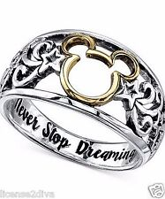 DISNEY STERLING SILVER 14K GOLD PLATE MICKEY MOUSE  RING NEVER STOP DREAMING 9