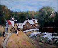 Hand Painted Oil Painting Repro Sisley Early Snow at Louveciennes 20x24in