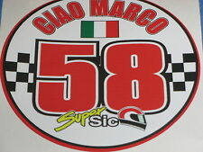 "Marco Simoncelli 58 ""Ciao Marco"" Bici Sticker Decal MotoGP 85mm"