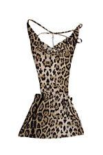 Sexy Leopard Deep V Neck Halter Backless Night Club Mini Dress Lingerie T1